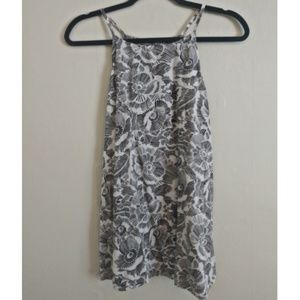 Old Navy Black and White Floral Tank Top
